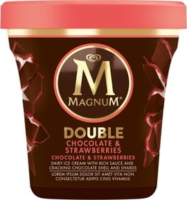 Algida Magnum Double Chocolate & Strawberry Lody - 440 ml